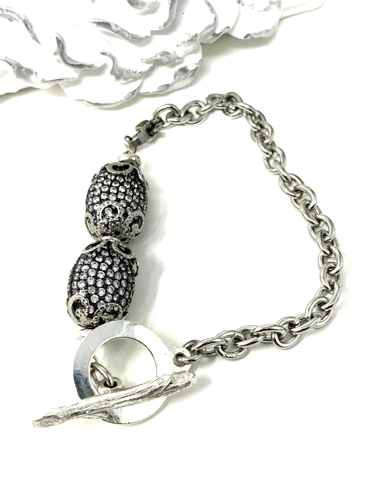 Pave' Crystal Interchangeable Bracelet Pendant #3025BC - Bead Dangle Design