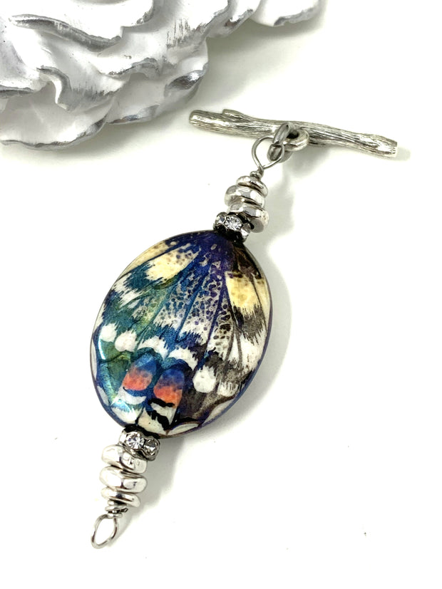 Handmade Butterfly Beaded Necklace #1028D
