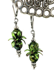 Forest Green Patina Czech Glass Beaded Dangle Leverback Earrings #1091E - Bead Dangle Design