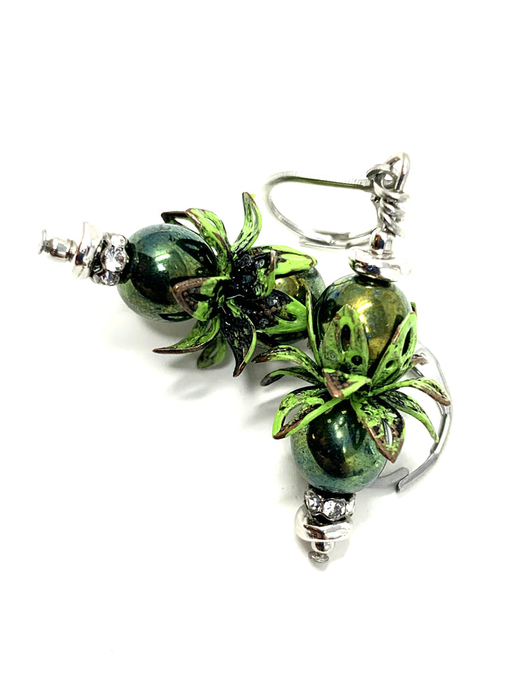 Forest Green Patina Czech Glass Beaded Dangle Leverback Earrings #1091E