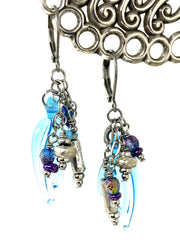 Butterfly Wing Turquoise and Czech Glass Beaded Dangle Earrings #1092E - Bead Dangle Design