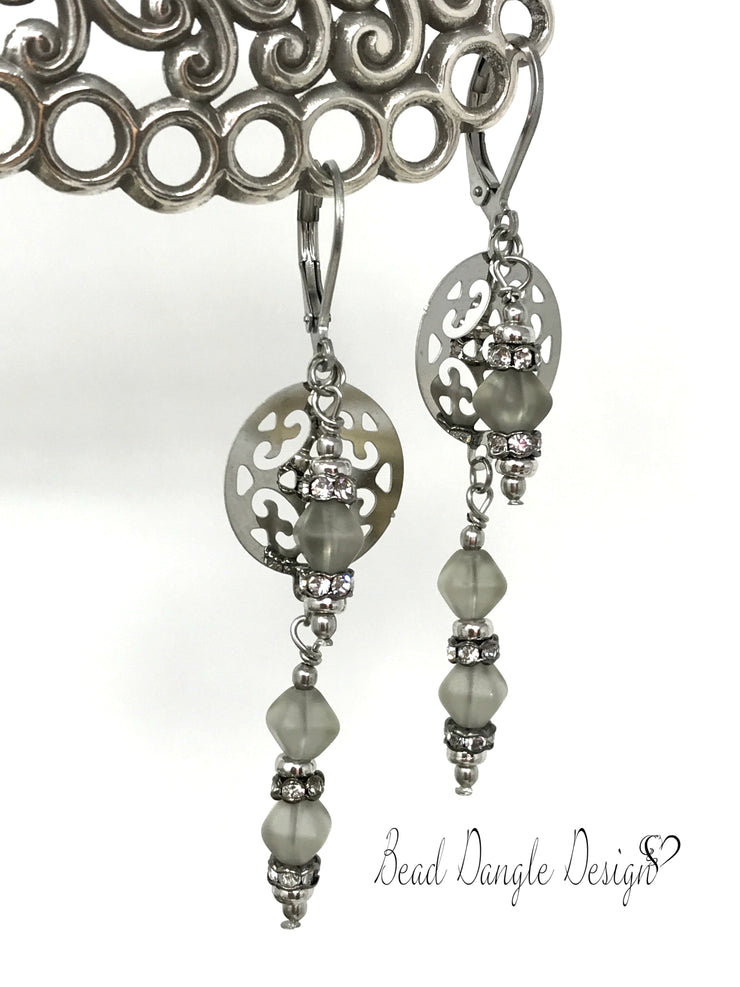Gray Frosted Glass Filigree Lever Back Beaded Earrings #875E - Bead Dangle Design