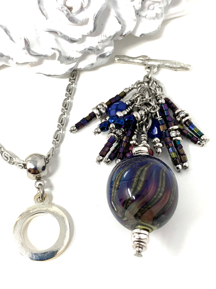Handmade Lampwork Blown Glass Beaded Cluster Dangle Pendant #2524D - Bead Dangle Design