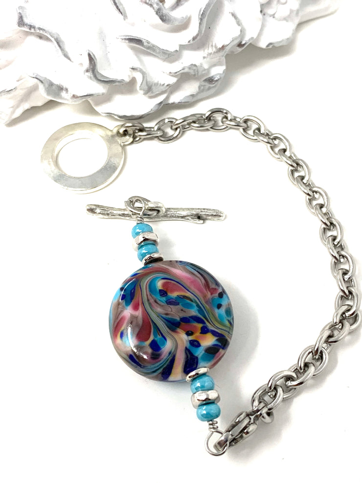 Handmade Lampwork Glass  Interchangeable Bracelet Pendant #30312C - Bead Dangle Design