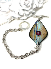Hand Painted Enamel Copper Interchangeable Bracelet Pendant #3023BC - Bead Dangle Design