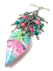 Polymer Clay Pastel Beaded Cluster Dangle Pendant #2528D