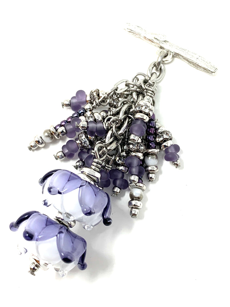 Purple and White Floral Lampwork Glass  Beaded Cluster Dangle Pendant #2527D - Bead Dangle Design