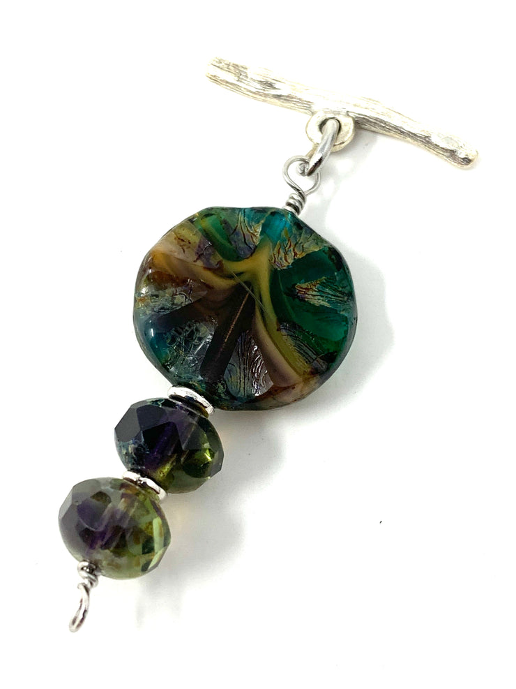 Czech Earthy Glass Interchangeable Bracelet Pendant #3023BC - Bead Dangle Design