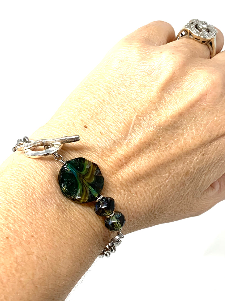 Czech Earthy Glass Interchangeable Bracelet Pendant #3023BC