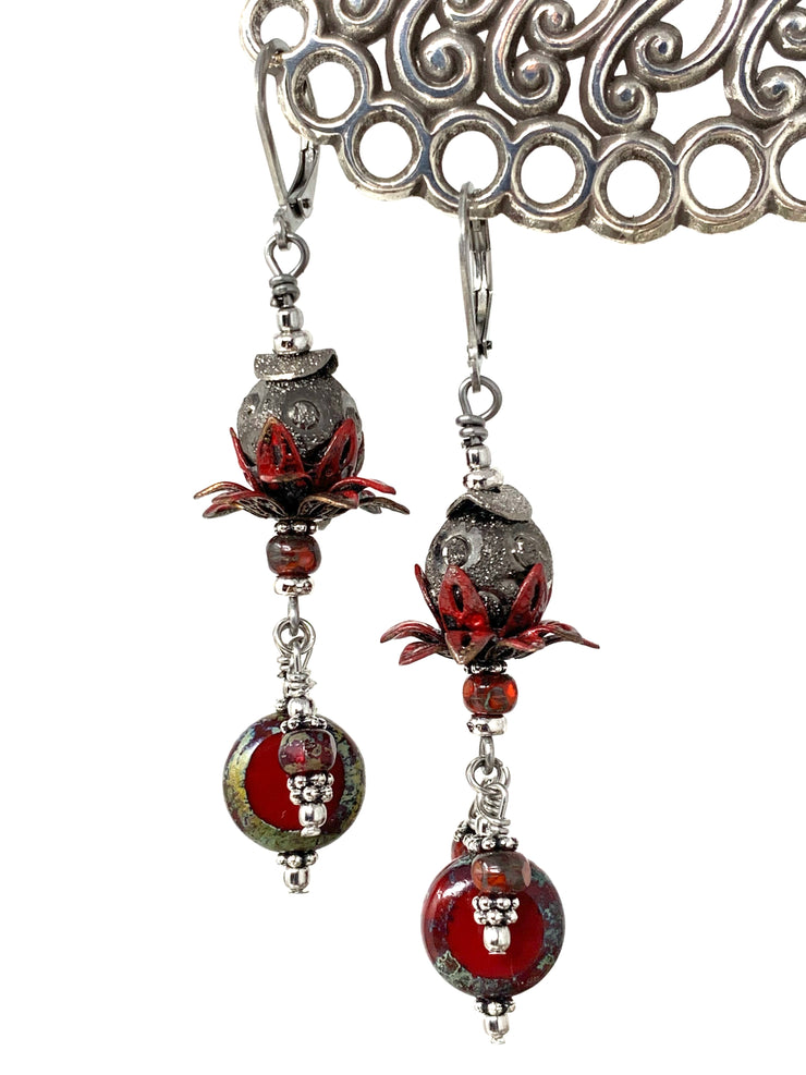 Czech Glass Red Tulip Patina Beaded Dangle Earrings #1094E - Bead Dangle Design