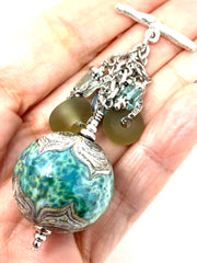 Gorgeous Lampwork Glass and Flourite Beaded Cluster Dangle Pendant #2534D - Bead Dangle Design