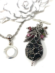 Pave' Gemstone Beaded Cluster Dangle Pendant #2533D - Bead Dangle Design