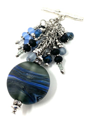 Smokey Gray and Blue Handmade Lampwork Glass Beaded Cluster Dangle Pendant #2532D - Bead Dangle Design