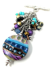 Vibrant Colored Handmade Lampwork Glass Beaded Cluster Dangle Pendant #2531D - Bead Dangle Design