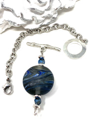 Handmade Smokey Gray and Blue Lampwork Glass Interchangeable Bracelet Pendant #3026BC - Bead Dangle Design