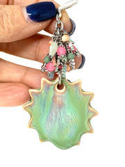 Porcelain Daisy Beaded Cluster Dangle Pendant #2535D - Bead Dangle Design