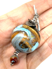 Golden Turquoise Swirl Beaded Pendant #2538D - Bead Dangle Design