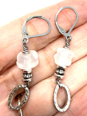 White Lampwork Glass Leverback Beaded Dangle Earrings #1101E - Bead Dangle Design