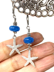 Blue Lampwork Glass and Starfish Leverback Beaded Dangle Earrings #1102E - Bead Dangle Design