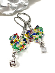 Handmade Multi Color Lampwork Glass Heart Leverback Beaded Dangle Earrings #1109E - Bead Dangle Design
