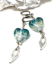 Turquoise Silver Speckle Lampwork Glass Heart Leverback Beaded Dangle Earrings #1110E - Bead Dangle Design