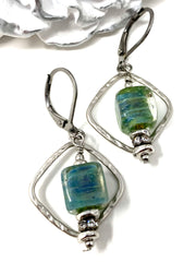 Dichroic Glass Hammered Rhodium Leverback Beaded Dangle Earrings #1114E