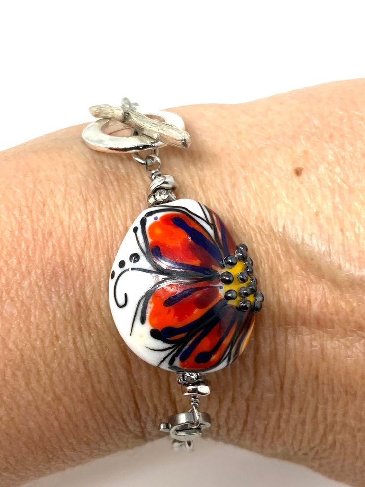 Floral Painted Lampwork Glass Interchangeable Bracelet Pendant #3029BC