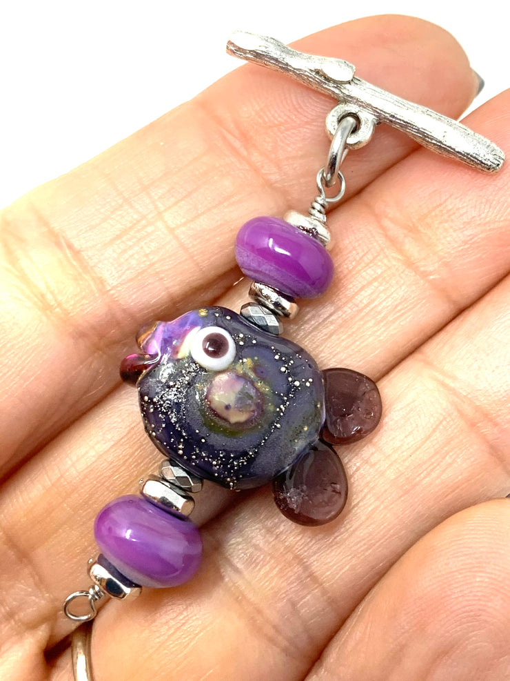Cute Little Lampwork Glass Fish Interchangeable Bracelet Pendant #3032BC - Bead Dangle Design