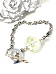 Faceted Crystal Heart and Swarovski Pearl Interchangeable Bracelet Pendant #3011BC - Bead Dangle Design