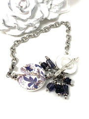 Deep Purple Iolite Porcelain Floral Interchangeable Bracelet Pendant #3035BC - Bead Dangle Design