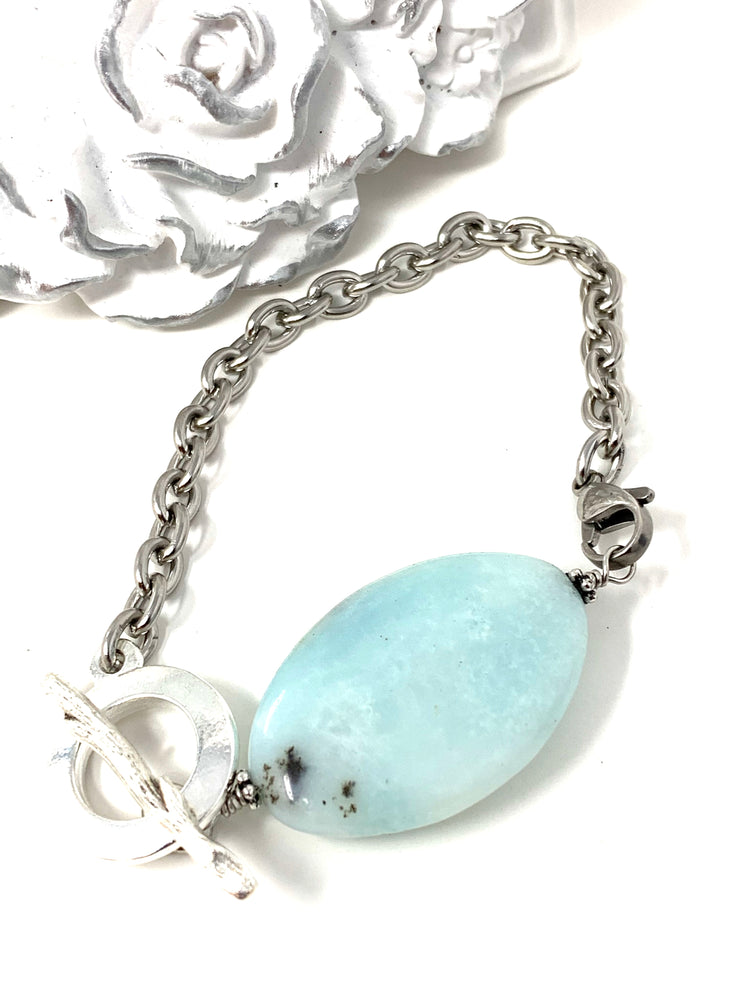 Charcoal and Pale Blue Amazonite Interchangeable Bracelet Pendant #3014BC - Bead Dangle Design