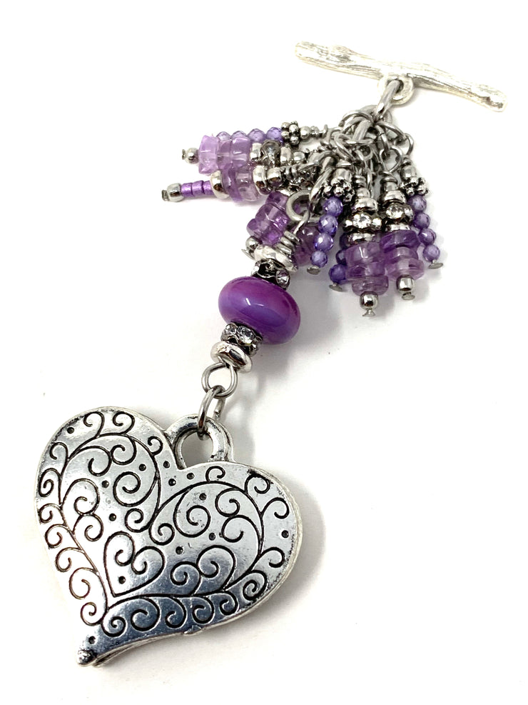 Purple Filigree Heart Lampwork Glass Beaded Dangle Pendant #2551D