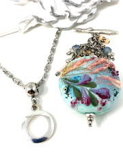 Handmade Hand Painted Lampwork Glass Floral Beaded Dangle Pendant #2550D