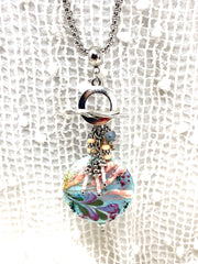 Handmade Hand Painted Lampwork Glass Floral Beaded Dangle Pendant #2550D - Bead Dangle Design