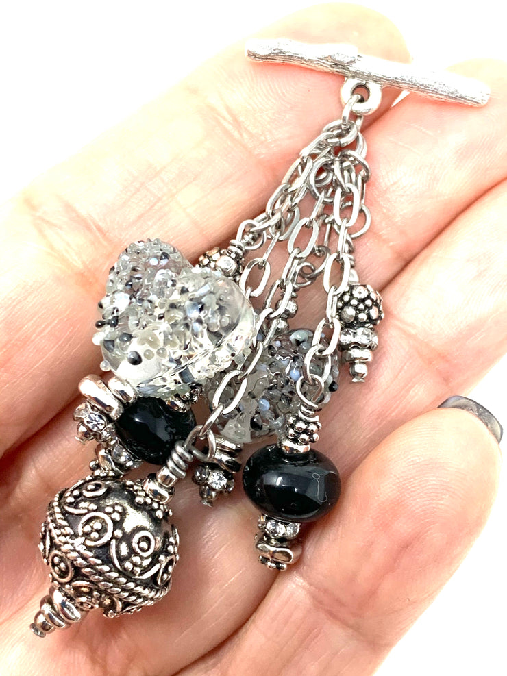 Speckled Black and White Heart Antique Filigree Pewter Beaded Dangle Pendant #2552D