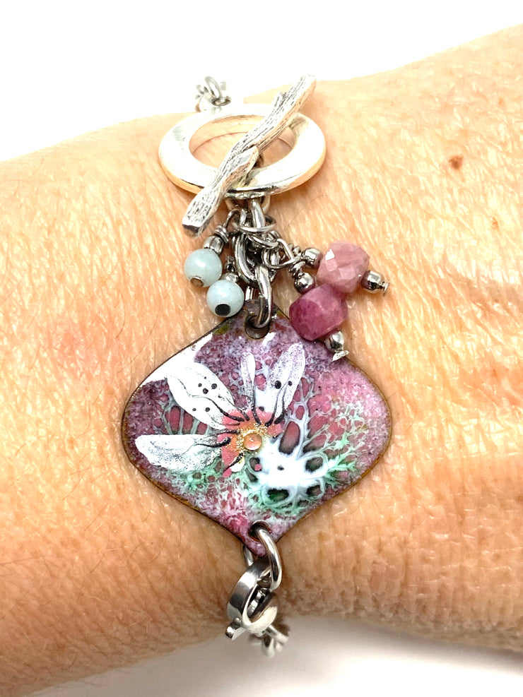 Hand Painted Floral Enamel Interchangeable Bracelet Pendant #3037BC - Bead Dangle Design