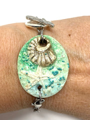 Polymer Clay Beachy Seashell Interchangeable Bracelet Pendant #3038BC