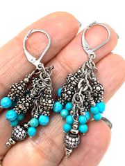 Faceted Magnesite Pave' Crystal Leverback Beaded Dangle Earrings #1116E