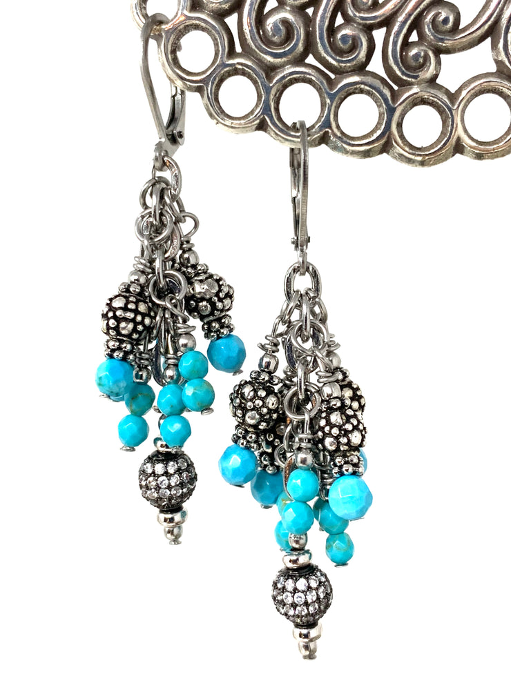 Faceted Magnesite Pave' Crystal Leverback Beaded Dangle Earrings #1116E - Bead Dangle Design
