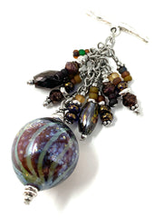 Lampwork Glass and Crystal Swirl Beaded Dangle Pendant #2556D