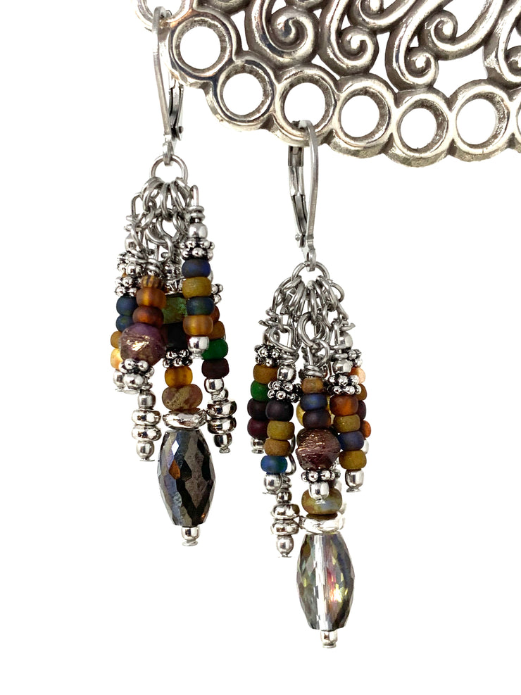Faceted Crystal and Boho Frosted Glass Leverback Beaded Dangle Earrings #1117E - Bead Dangle Design