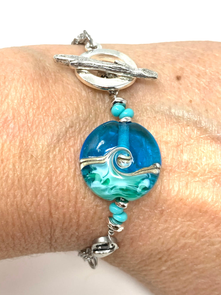 Ocean Blue Lampwork Glass Interchangeable Bracelet Pendant #3042BC - Bead Dangle Design