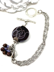 Brown and Lavender Lampwork Glass Swirl Interchangeable Bracelet Pendant #3043BC - Bead Dangle Design