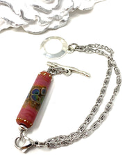Handmade Lampwork Glass Tube Interchangeable Bracelet Pendant #3046BC - Bead Dangle Design