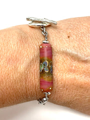 Handmade Lampwork Glass Tube Interchangeable Bracelet Pendant #3046BC