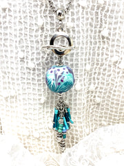 Handmade Lampwork Glass Textured Beaded Dangle Pendant #2558D - Bead Dangle Design