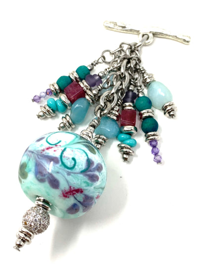 Handmade Lampwork Glass Textured Beaded Dangle Pendant #2559D