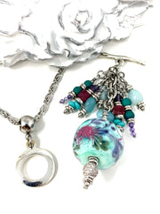Handmade Lampwork Glass Textured Beaded Dangle Pendant #2559D - Bead Dangle Design