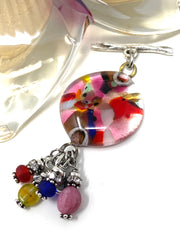 Speckled Glass Interchangeable Bracelet Pendant #3049BC - Bead Dangle Design