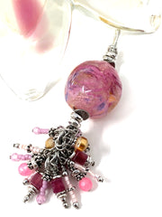 Orange and Pink Beaded Cluster Dangle Pendant #2433D - Bead Dangle Design